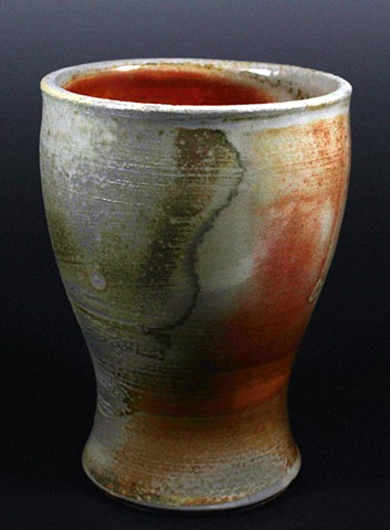 Wood-fired shino glazed tumbler. Microwave & dishwasher safe