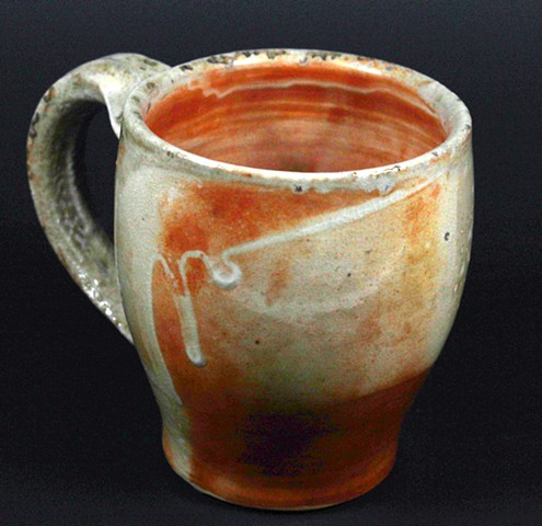 Wood-fired shino glazed mug. Microwave & dishwasher safe
