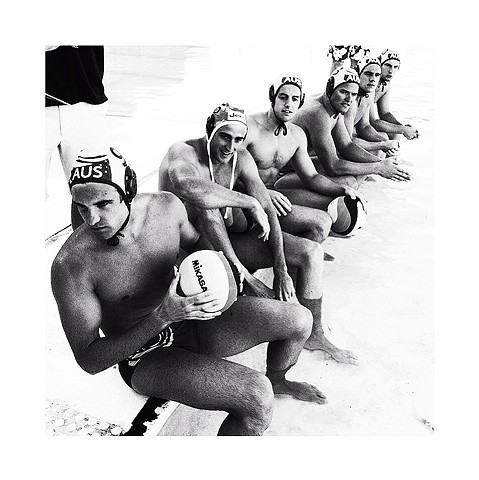 Aussie Sharks vs International All Stars Water Polo by the Sea, Bondi Icebergs by Dani Green