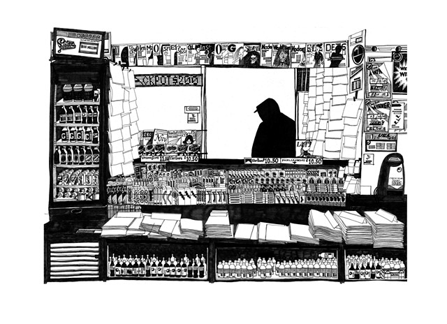 New York City Series, Newsstand. Illustration by Dani Green