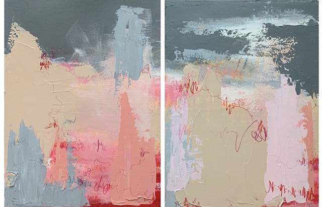 """Red # 4_1 / Diptych "" Manuscript Series"