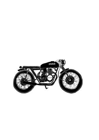 Salty Speed Co. Blacked out Honda CB400. Illustration by Dani Green