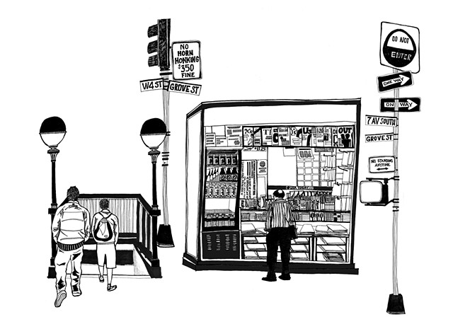 New York City Series, 7th Av Newstand. Illustration by Dani Green