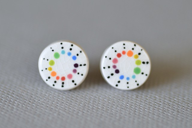 Colorwheel Dots, Post Earrings