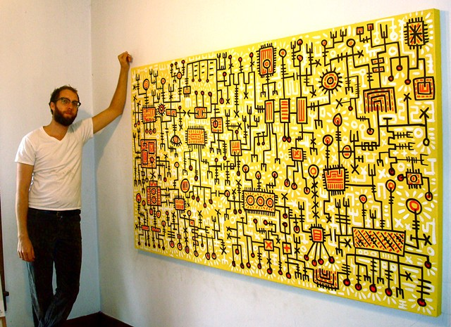 Yellow cadmium red light Keith haring Brett hunter line painting
