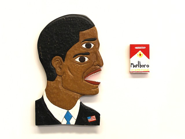 brett douglas hunter barack obama art folk art outsider howard finster carved wood carving funny