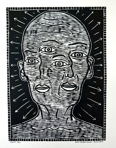woodcut woodblock block print printing brett douglas hunter folk art carbondale illinois