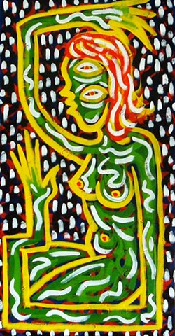 Outsider folk art nude bright Pop folk art red blue primary colors line Keith haring Howard finster Dow Pugh Brett hunter
