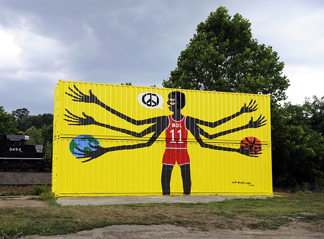 mural manute bol howard finster keith haring folk art outsider art brett douglas hunter randy shull asheville nc north carolina street art