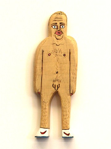 brett douglas hunter nude man nike shoes folk art wood carved