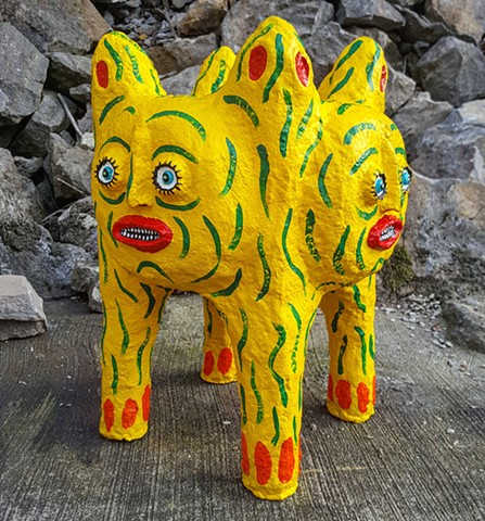 Yellow 4-Faced Planter