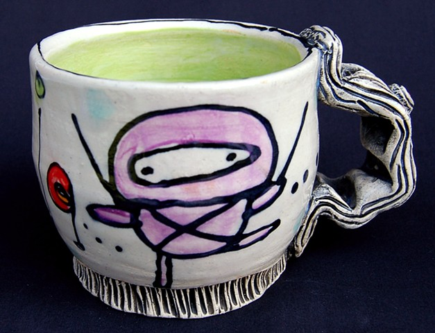 clay, ceramics, mug, wheel thrown, creatures, hand made, hand carved, hand drawn
