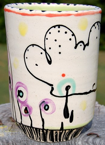 clay, ceramics, cup, wheel thrown, creatures, hand made, hand carved, hand drawn
