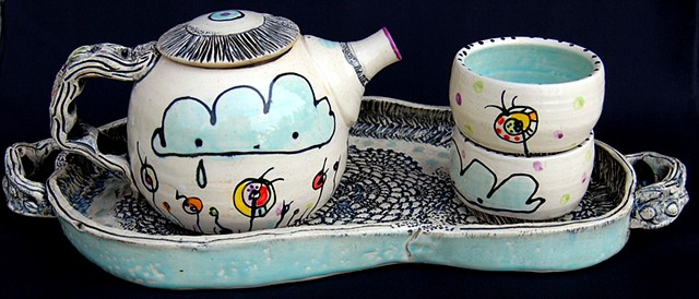 clay, ceramics, cup, tea pot, tea set, tray, wheel thrown, creatures, hand made, hand carved, hand drawn