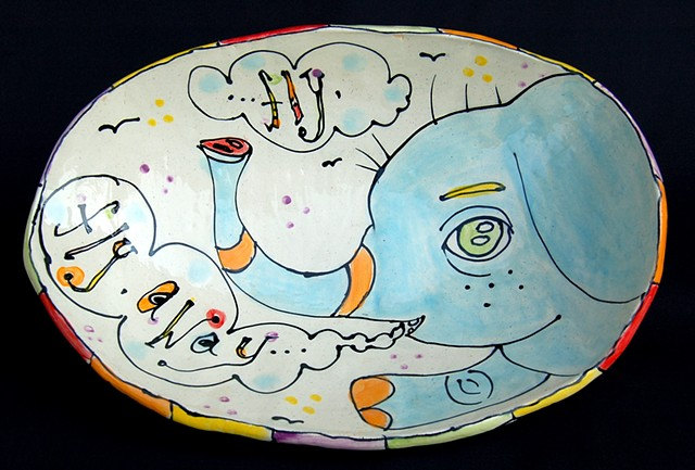 art, clay, ceramics, hand built, hand drawn, serving bowl, slab contruction, creatures