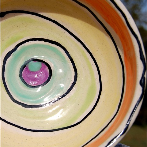 clay, ceramics, bowl, wheel thrown, rainbow, inside, hand made