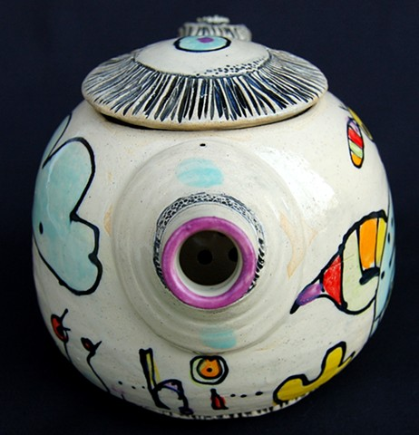 clay, ceramics, teapot, wheel thrown, creatures, hand made, hand carved, hand drawn