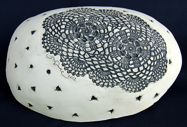Fly, Fly Away Slab-built Large Serving Bowl (bottom detail)