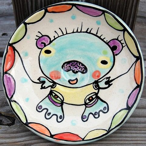 clay, ceramics, plate, wheel thrown, creatures, hand made, hand carved