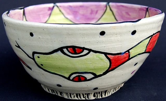 clay, ceramics, bowl, wheel thrown, creatures, hand made