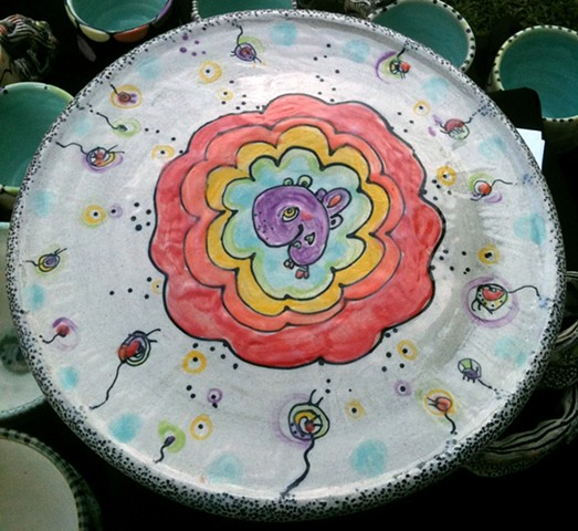 clay, ceramics, cake stand, wheel thrown, creatures, hand made, hand carved, hand drawn