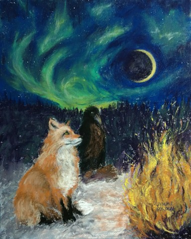 Fox and Raven Appreciating the Dark and the Light