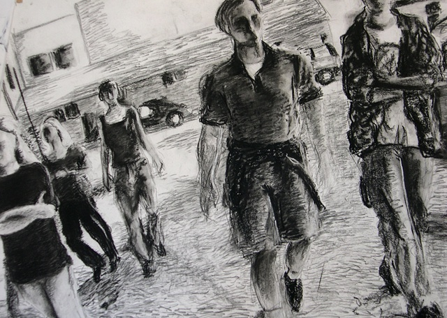 Out for a Walk, charcoal on paper