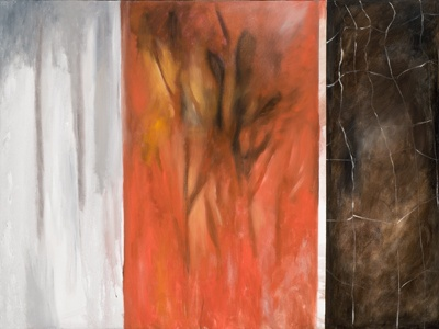 Burning Embers, oil and charcoal on canvas, by Morgan Johnson Norwood