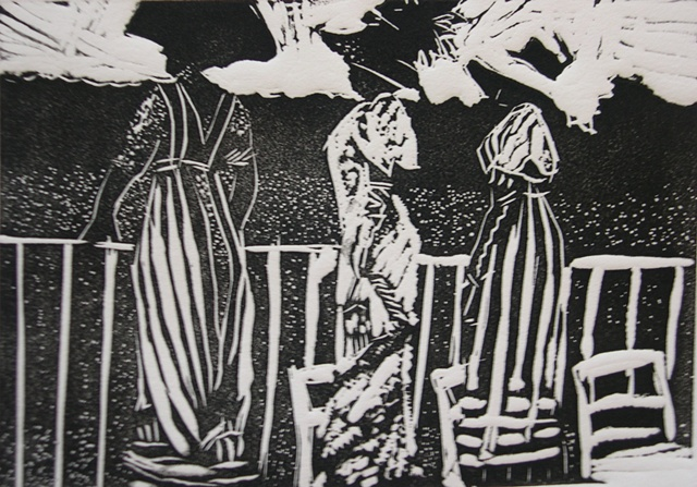 At the Races, block print