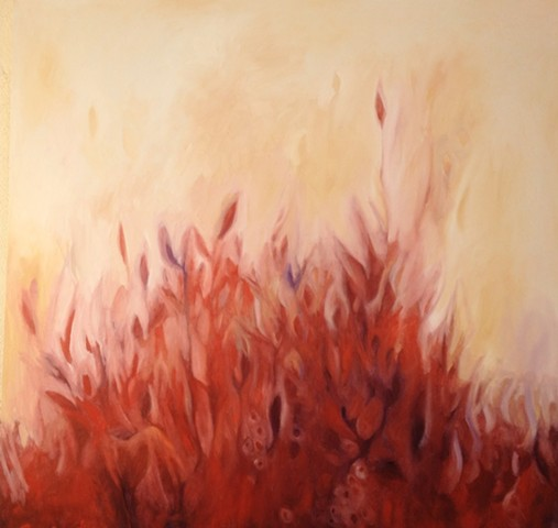 Pyre oil on canvas by Morgan Johnson Norwood 48 x 48 inches Forest and Flame