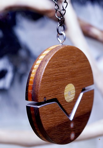 Round Wood Pendant made from reused materials