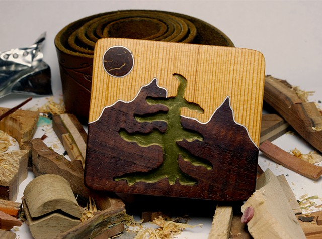 Wood Belt Buckle handcrafted from scrap materials