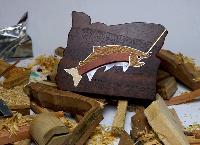 You will always have a #Fish On with this Wooden Hand Made custom Trout inlay Belt Buckle
