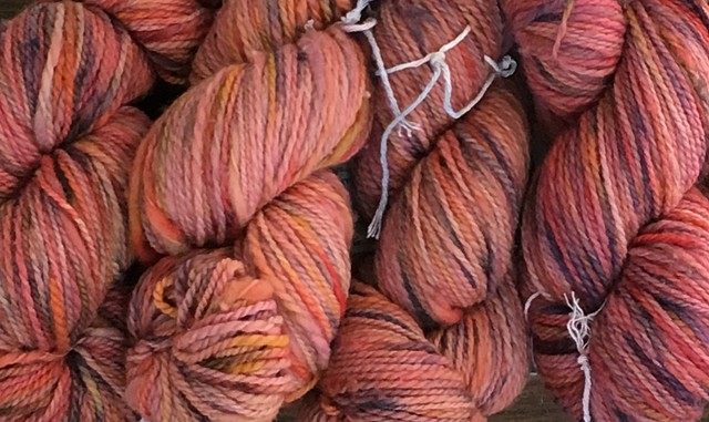 Hand Dyed New Mexico Wool Thick-n-Thin Worsted Weight Yarn Watermelon (5 skeins available)