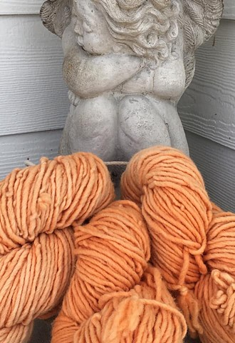 Hand Dyed Gordo Wool (3 skeins available) Popsicle Orange Burst