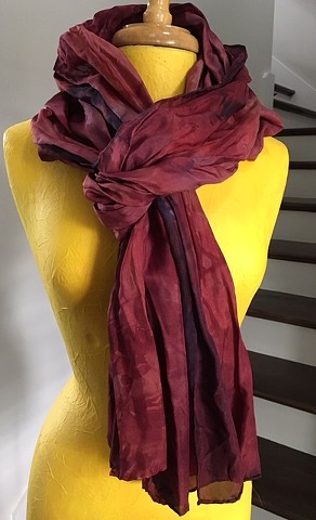Hand Dyed Silk Scarf By Us Burgundy