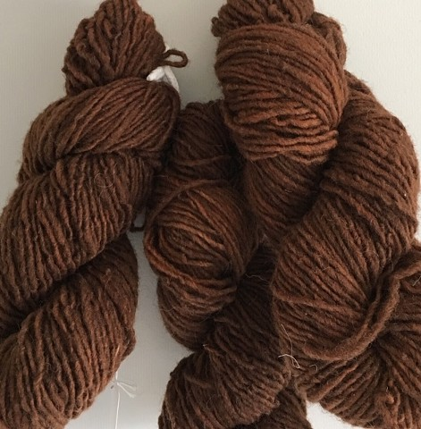 Hand Dyed New Mexico Churro Wool (3 skeins available) Dark Brown