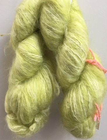 Hand Dyed Mohair (2 skeins available) Lemon/Lime