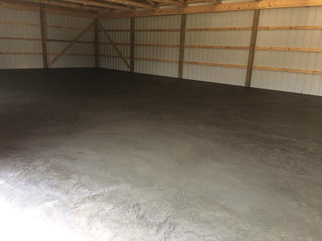 Concrete flooring to finish out the barn