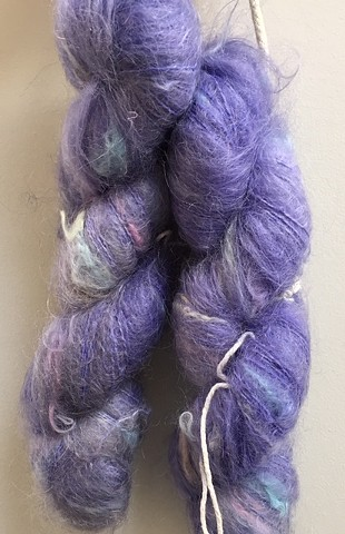 Hand Dyed Italian Spun Mohair (2 skeins available) Violet/Iris