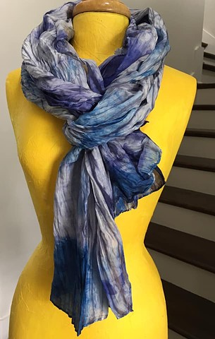 Hand Dyed Silk Scarf By Us Shibori Dye Technique