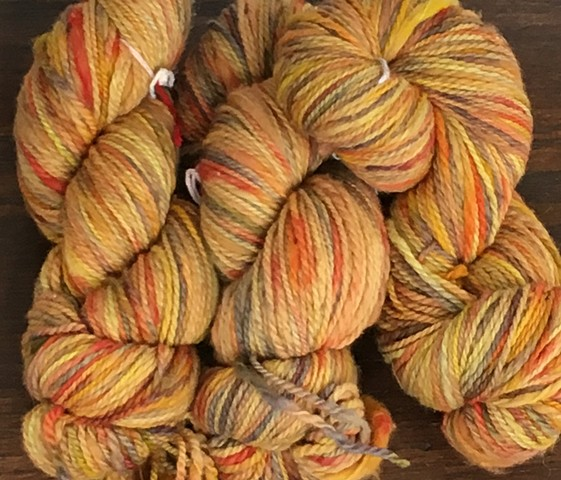 Hand Dyed New Mexico Wool Thick-n-Thin Worsted Weight Yarn Mayan Gold Dark (3 skeins available)
