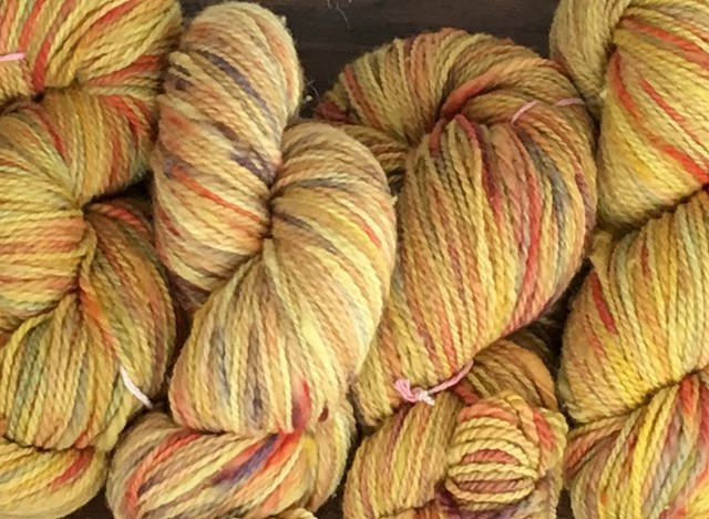 Hand Dyed New Mexico Wool Thick-n-Thin Worsted Weight Yarn Mayan Gold Light (4 skeins available)
