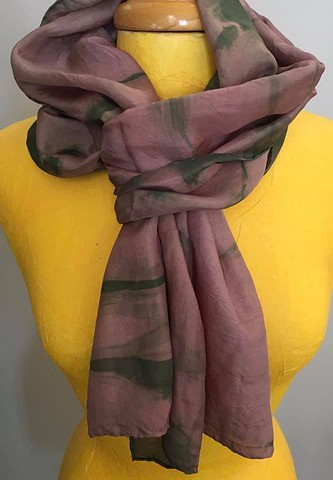 Hand Dyed Silk Scarf by Us Moody Mauve