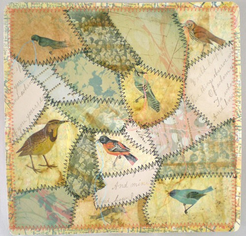 A paper quilt with images of birds