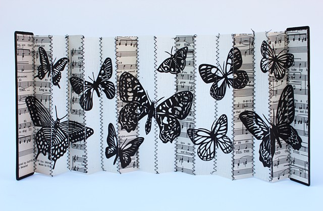 accordion book, book object, found object art, butterflies, cut paper