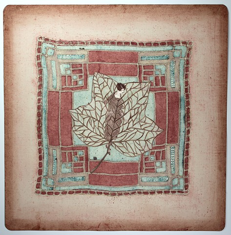 mixed media printmaking with vintage handkerchiefs