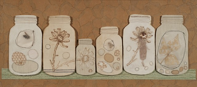 Mason jars, mixed media printmaking