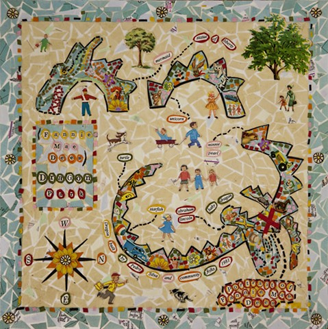 "Mosaic-like collage of Dragon Park for the book ""Nashville Counts"""
