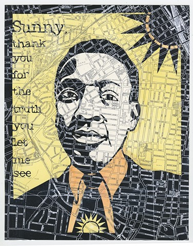 Cut paper portrait of Bobby Hebb by Lesley Patterson-Marx